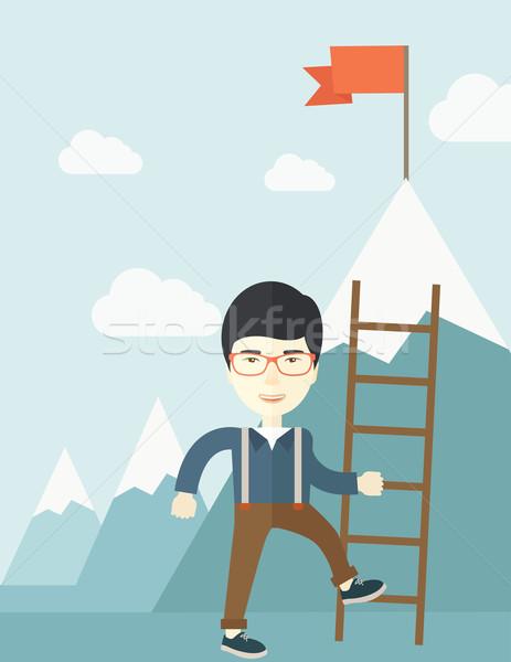 Adım başarı Çin işadamı ayakta Stok fotoğraf © RAStudio