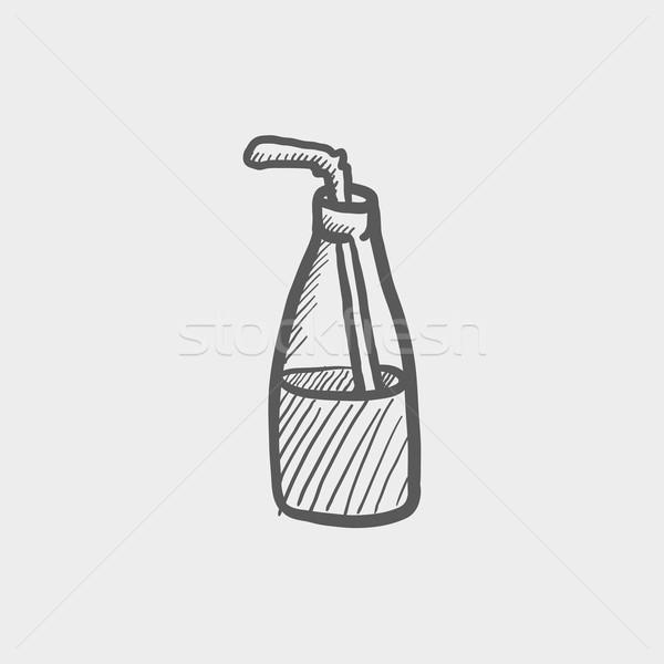 Bottle of milk with straw sketch icon Stock photo © RAStudio