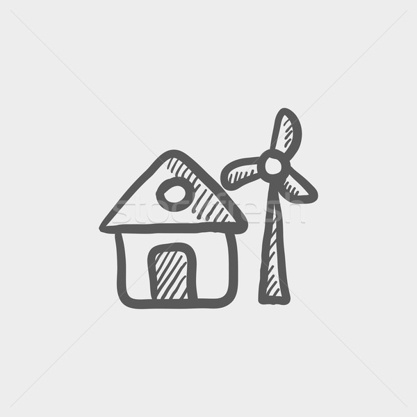 House with windmill sketch icon Stock photo © RAStudio