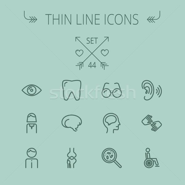 Stock photo: Medicine thin line icon set