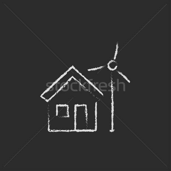 House with windmill icon drawn in chalk. Stock photo © RAStudio
