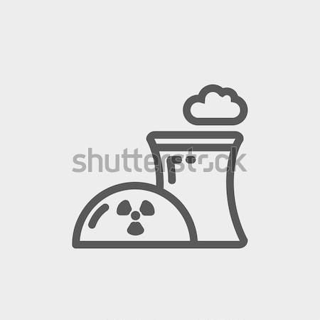 Nucleaire energiecentrale icon krijt schets Stockfoto © RAStudio