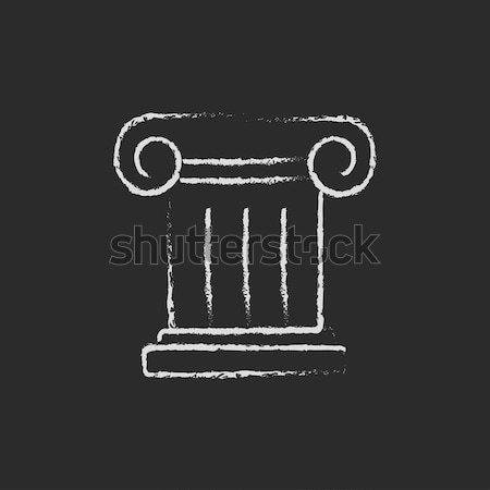 Ancient column icon drawn in chalk. Stock photo © RAStudio