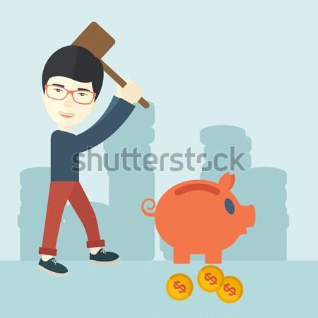 Csőd üzletember áll tart kalapács persely Stock fotó © RAStudio