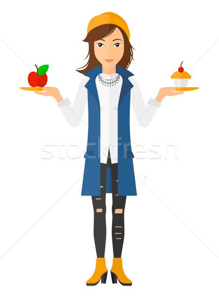 Donna mela torta mani scelta sani Foto d'archivio © RAStudio
