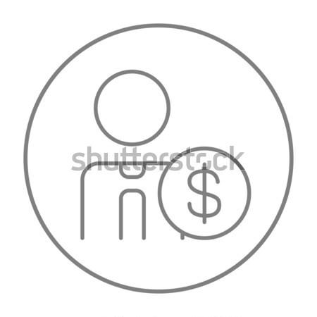 Homem cifrão linha ícone teia móvel Foto stock © RAStudio