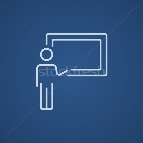 Profesör işaret tahta hat ikon web Stok fotoğraf © RAStudio
