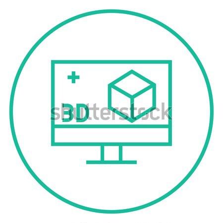 Bilgisayar monitörü 3D kutu hat ikon web Stok fotoğraf © RAStudio