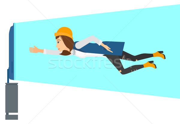 Vrouw lijden tv verslaving vliegen scherm Stockfoto © RAStudio