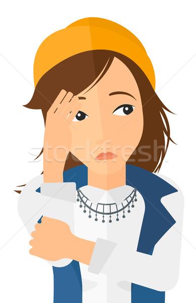 Szégyenkezve fiatal nő nő arc kéz vektor Stock fotó © RAStudio