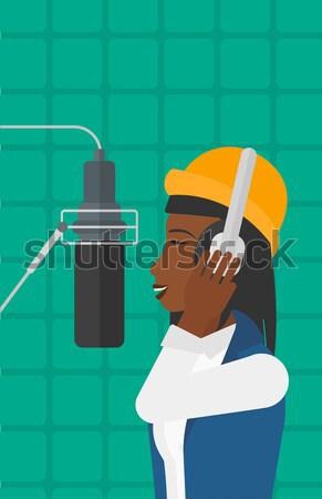 Piosenkarka rekord słuchawki studio głos Zdjęcia stock © RAStudio
