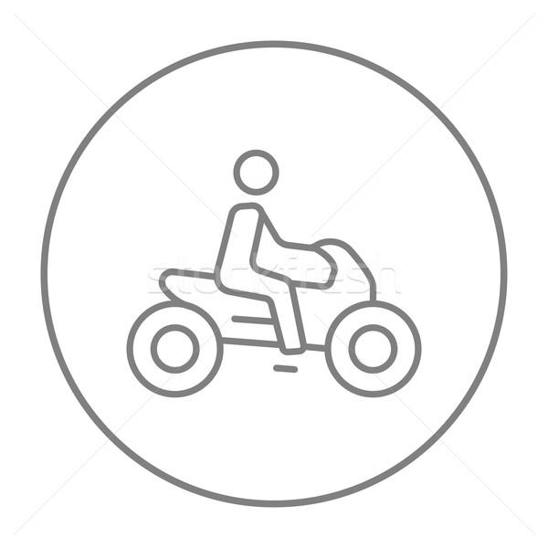 Foto stock: Homem · equitação · motocicleta · linha · ícone · teia
