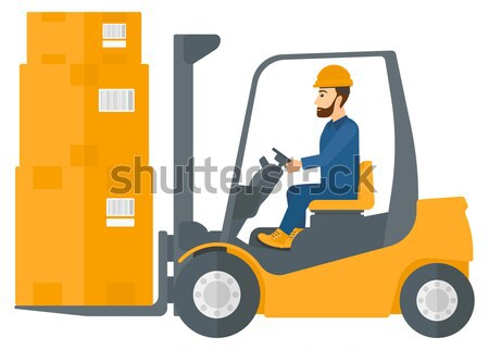 Worker moving load by forklift truck. Stock photo © RAStudio