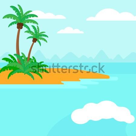 Klein tropisch eiland palmbomen oceaan vector ontwerp Stockfoto © RAStudio