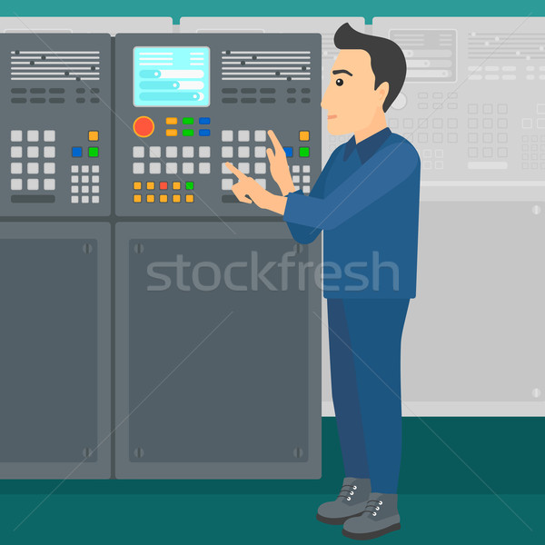 Ingeniero pie panel de control hombre de trabajo fábrica Foto stock © RAStudio