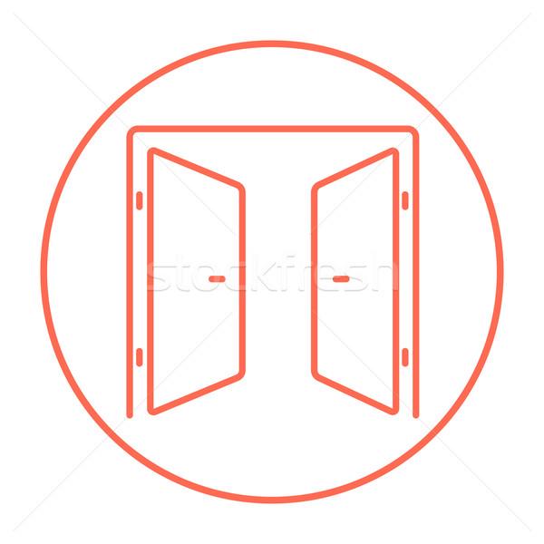 Open doors line icon. Stock photo © RAStudio