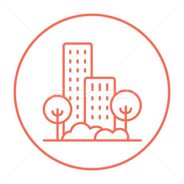 Residential building with trees line icon. Stock photo © RAStudio