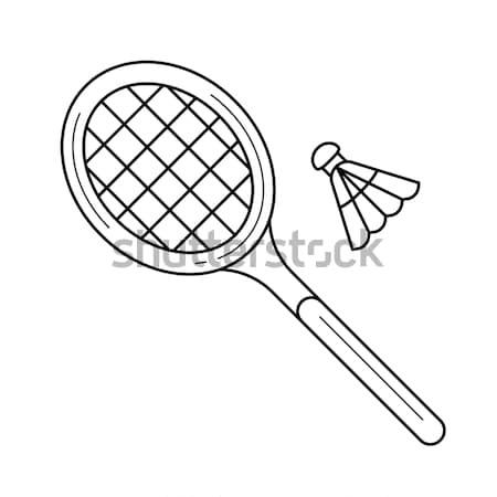 Shuttlecock and badminton racket line icon. Stock photo © RAStudio