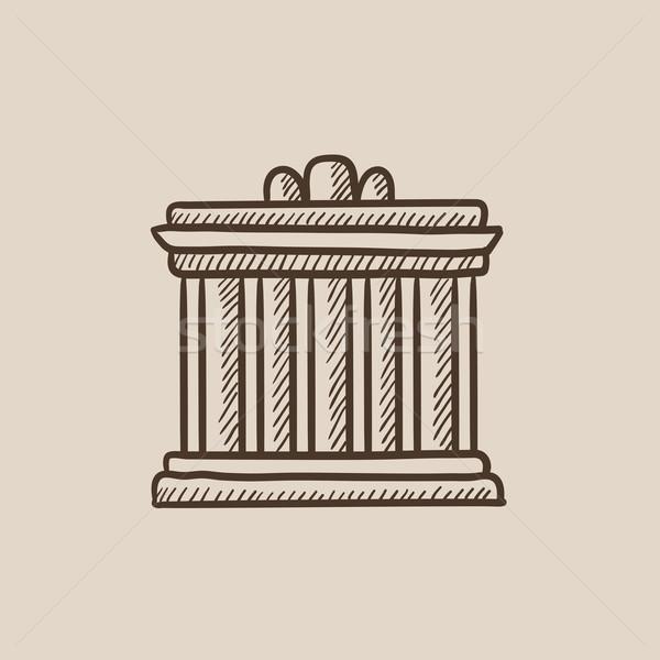 Acrópole Atenas esboço ícone teia móvel Foto stock © RAStudio