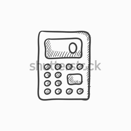 Kalkulator szkic ikona internetowych komórkowych infografiki Zdjęcia stock © RAStudio