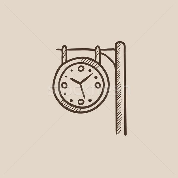 Vasútállomás óra rajz ikon háló mobil Stock fotó © RAStudio