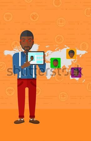 Stockfoto: Man · social · media · bron · asian