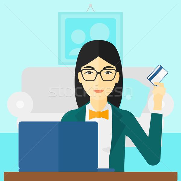 Nő készít online ázsiai ül laptop Stock fotó © RAStudio