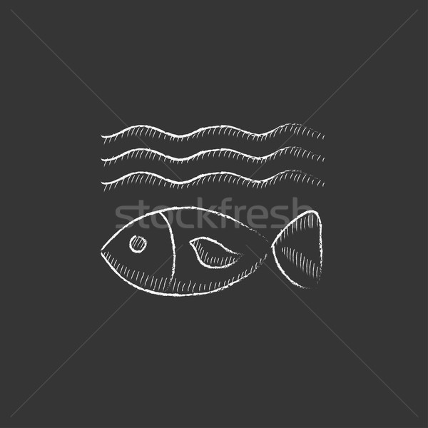 Fish under water. Drawn in chalk icon. Stock photo © RAStudio