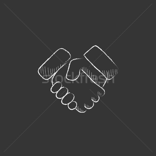 Handshake erfolgreich Immobilien Transaktion gezeichnet Kreide Stock foto © RAStudio
