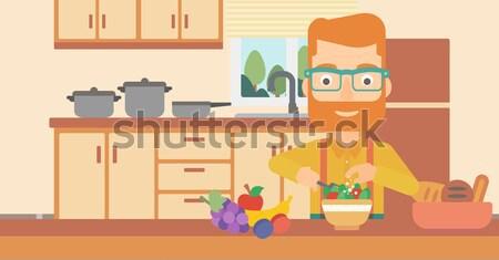 человека еды Салат борода кухне Сток-фото © RAStudio