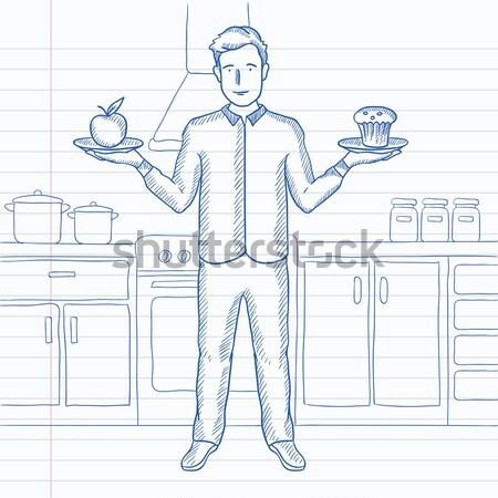 Homem maçã bolo em pé cozinha mãos Foto stock © RAStudio