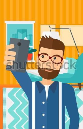 Adam gibi düğme sakal Stok fotoğraf © RAStudio
