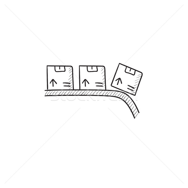 Conveyor belt for parcels sketch icon. Stock photo © RAStudio
