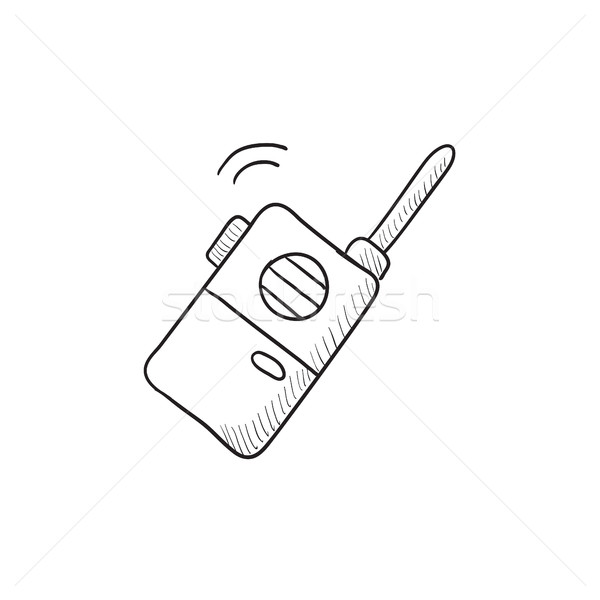 Hordozható rádió szett rajz ikon vektor Stock fotó © RAStudio