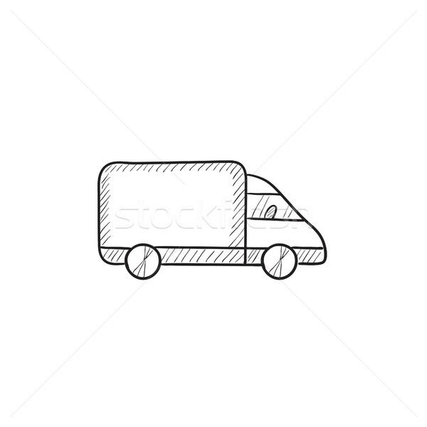Foto stock: Caminhão · de · entrega · esboço · ícone · vetor · isolado