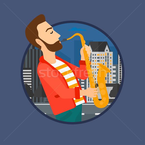 Zenész játszik szaxofon hipszter szakáll férfi Stock fotó © RAStudio