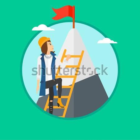 商业照片 / 矢量图: 商界女强人 · 攀登 · 山 · 阶梯 · 红色