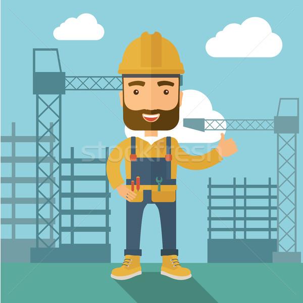 Férfi áll építkezés állvány torony építőmunkás Stock fotó © RAStudio