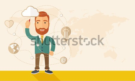 Businessman illustrating his business plan. Stock photo © RAStudio