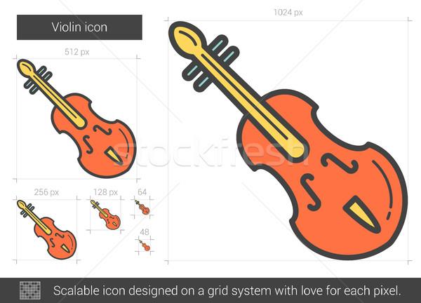 Viool lijn icon vector geïsoleerd witte Stockfoto © RAStudio