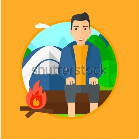 Foto stock: Homem · sessão · camping · fogo · tenda