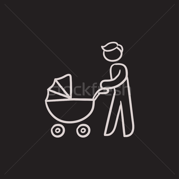 Man walking with baby stroller sketch icon. Stock photo © RAStudio