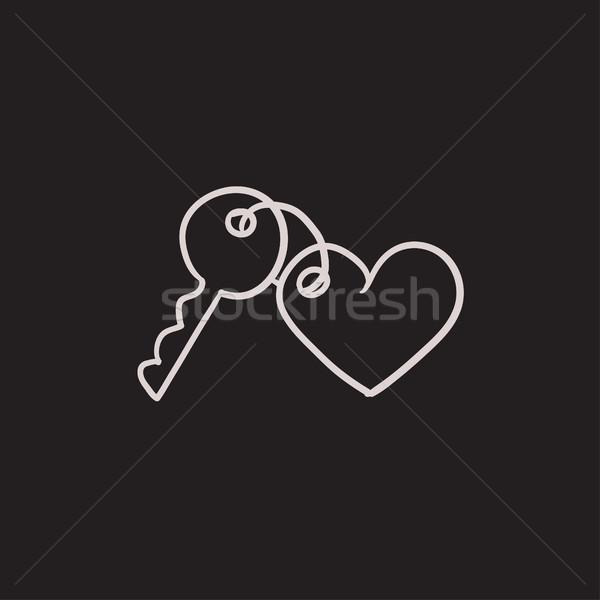 Cacko klucze serca szkic ikona wektora Zdjęcia stock © RAStudio