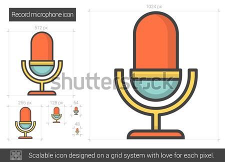 Registro micrófono línea icono vector aislado Foto stock © RAStudio