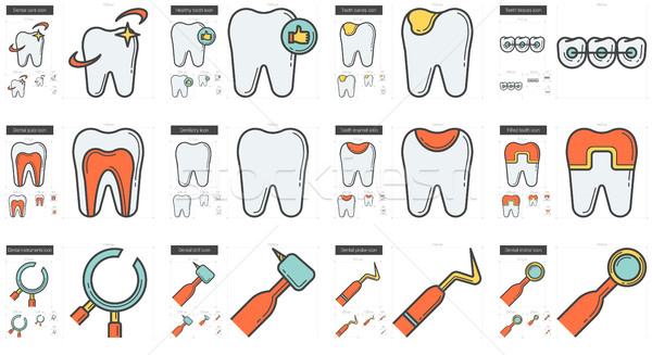 Stock photo: Stomatology line icon set.