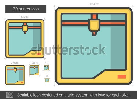 Três impressora linha ícone vetor isolado Foto stock © RAStudio