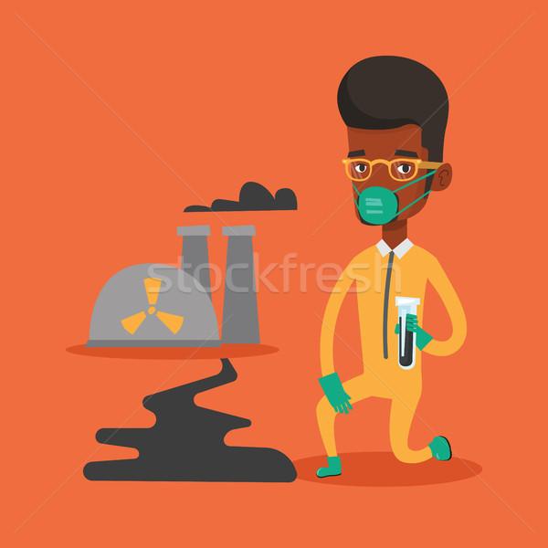 Stok fotoğraf: Laboratuvar · asistan · deney · tüpü · genç · Afrika · bilim · adamı