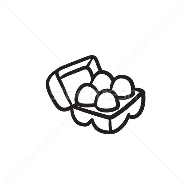 яйца пакет эскиз икона веб Сток-фото © RAStudio