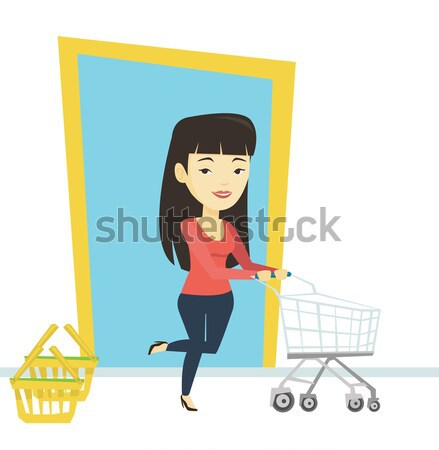 Customer running into the shop with trolley. Stock photo © RAStudio