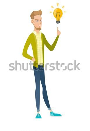 スチュワーデス ポインティング 明るい アイデア 電球 白人 ストックフォト © RAStudio